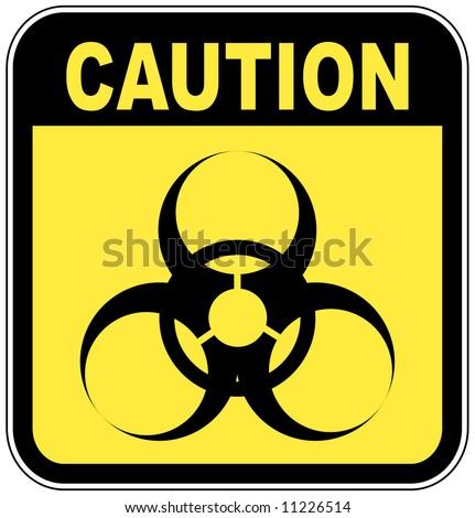 yellow and black biohazard warning sign - vector - stock vector