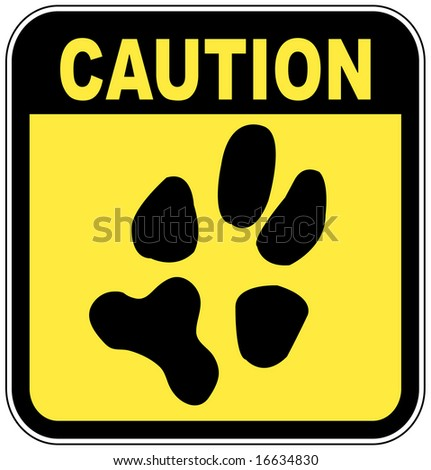 yellow and black caution sign with paw print - no pets - stock vector