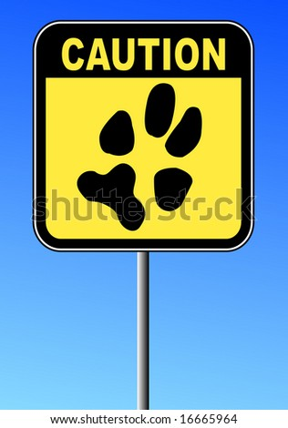 yellow and black caution sign with paw print on blue sky - stock vector
