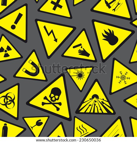 yellow and black danger and warning signs pattern eps10 - stock vector