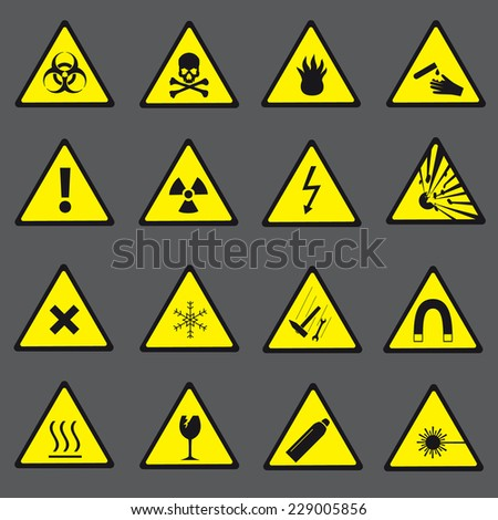 yellow and black danger and warning signs set eps10 - stock vector