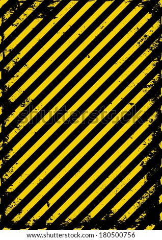 yellow and black grunge barricade tape - stock vector