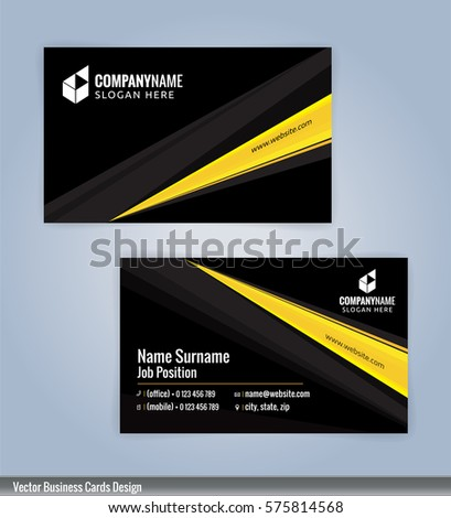 yellow black modern business card template stock vector 575814568