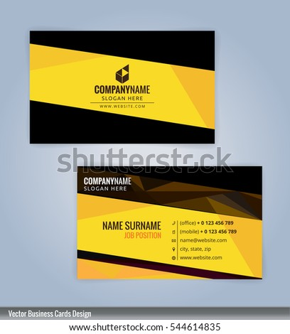 yellow black modern business card template stock vector 544614835