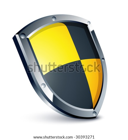 Yellow and black shield - stock vector