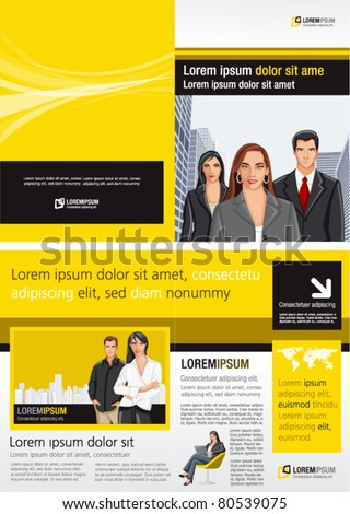 Yellow and black template for advertising brochure with business people - stock vector
