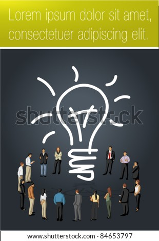 Yellow and black template for advertising brochure with business people having a idea - stock vector