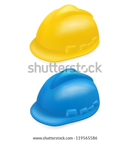 Yellow and blue  hard hat on white - stock vector