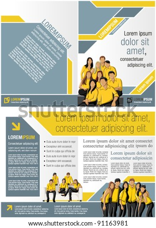 Yellow and blue template for advertising brochure with business people - stock vector