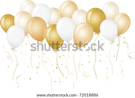 Yellow and Gold party balloons - stock vector