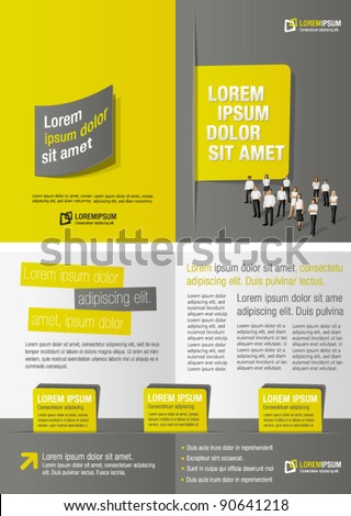Yellow and gray template for advertising brochure with  business people - stock vector