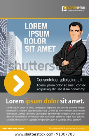 Yellow and gray template for advertising brochure with man on the city - stock vector