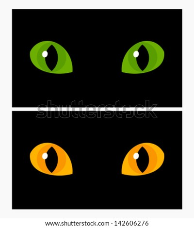 Yellow and green cat eyes. Vector illustration - stock vector