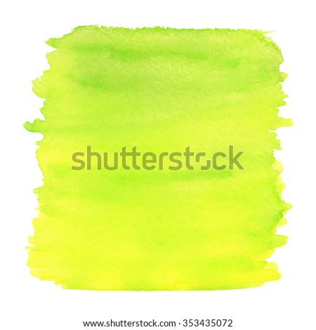 Yellow and green watercolor texture. Vector illustration. - stock vector