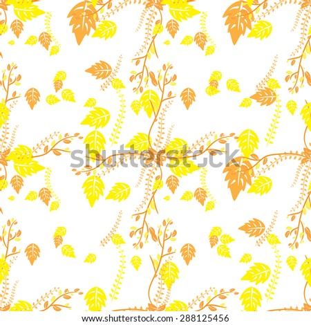 Yellow and orange autumn leaves on a white background - stock vector