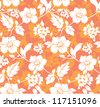 Yellow and orange flowers on a purple background seamless pattern. Can be used as a seamless wallpaper. - stock vector