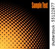 Yellow and orange halftone background with black copy space. - stock vector