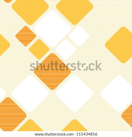 yellow and orange squares on light beige retro seamless pattern - stock vector