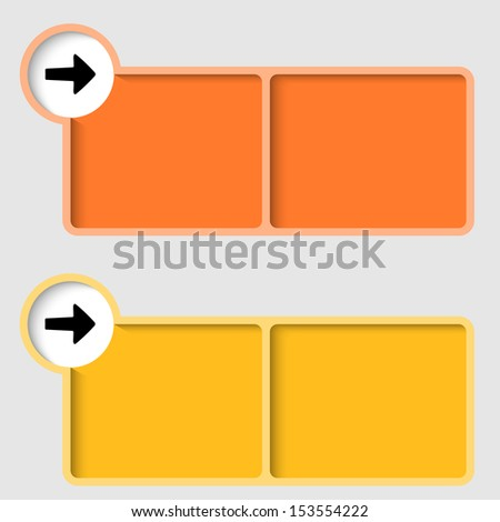 yellow and orange text frame with arrow