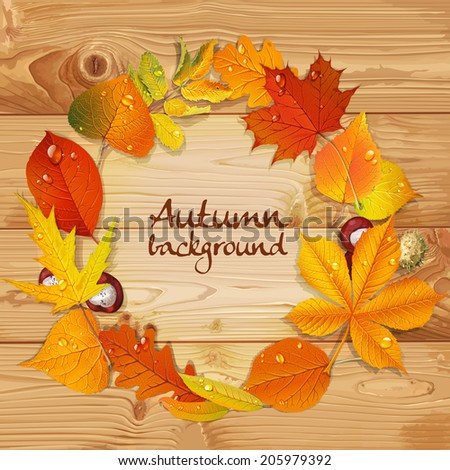 Yellow and red autumn leaves and chestnut  wreath on wooden background - stock vector