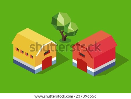 Yellow and red barn. isometric vector - stock vector