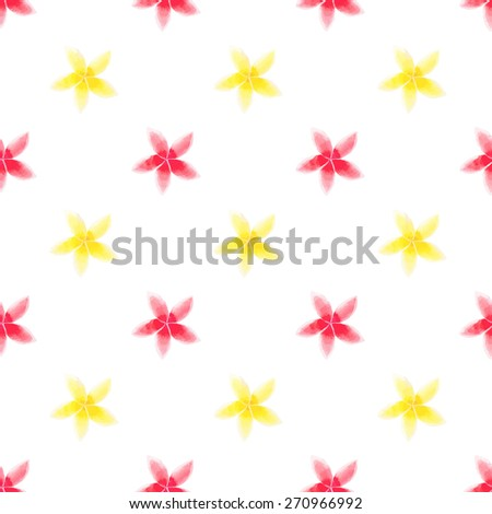 Yellow and red plumeria. Seamless pattern with flowers.  Vector illustration. Real watercolor painting - stock vector