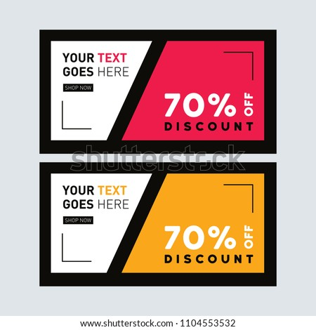 yellow red sale banner design facebook stock vector royalty free