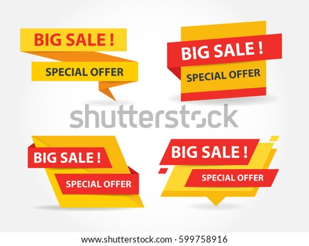 Yellow and red shopping sale banner label template, discount sale banner collection set