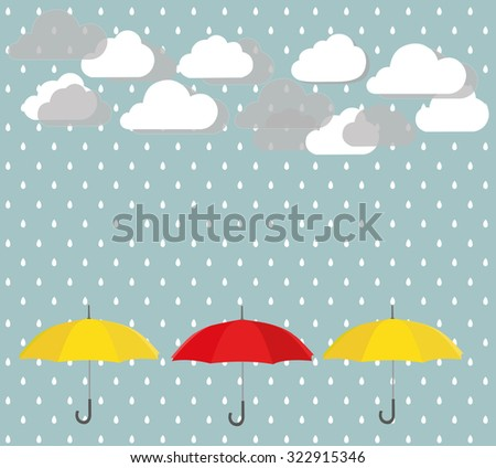 Yellow and red umbrella with rain. Vector background - stock vector