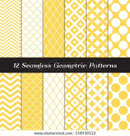 Yellow and White Geometric Patterns. Retro Mod Backgrounds in Jumbo Polka Dot, Diamond Lattice, Scallops, Quatrefoil and Chevron Patterns. Pattern Swatches made with Global Colors. - stock vector