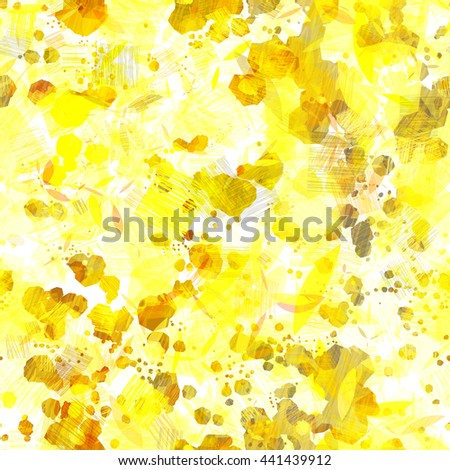 Yellow and white. Light. Stains and strokes. Abstract seamless vector pattern. Easy editing. Hatch, overlay, transparency, overlap.  - stock vector