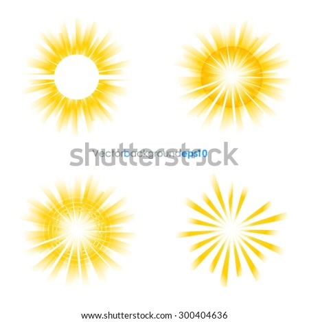 Yellow and white vector backgrounds with sun burst effect - stock vector