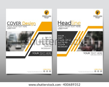 Yellow annual report brochure flyer design template vector, Leaflet cover presentation abstract flat background, layout in A4 size - stock vector