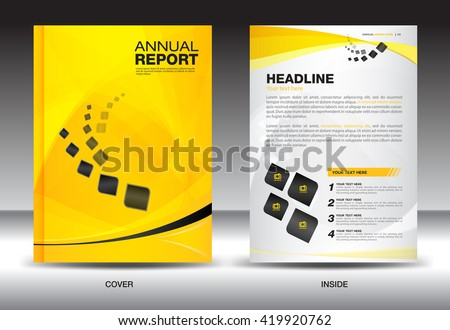 Yellow annual report Leaflet Brochure Flyer template A4 size design, book cover layout design, Abstract presentation templates,poster,leaflet,newsletter,poster,vector - stock vector
