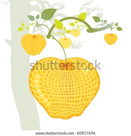 yellow apple composition - stock vector