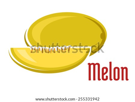 Yellow aroma ripe melon fruit with slice showing juice soft pulp and seeds in cartoon style isolated on white background with red caption Melon - stock vector