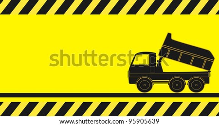 yellow background truck silhouette for transportation of bulk materials