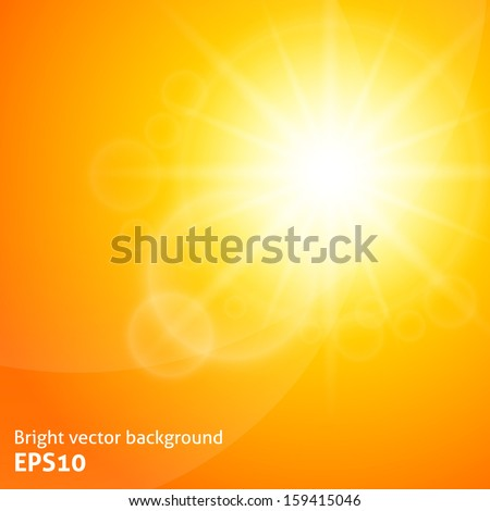 Yellow background with a summer sun burst with lens flare. Vector illustration - stock vector