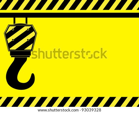 yellow background with construction hook and space for text
