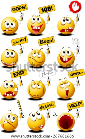 yellow balls with placards in their hands, vector and illustration - stock vector