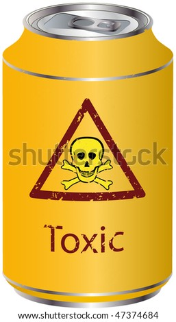 Yellow bank with a toxic waste - stock vector