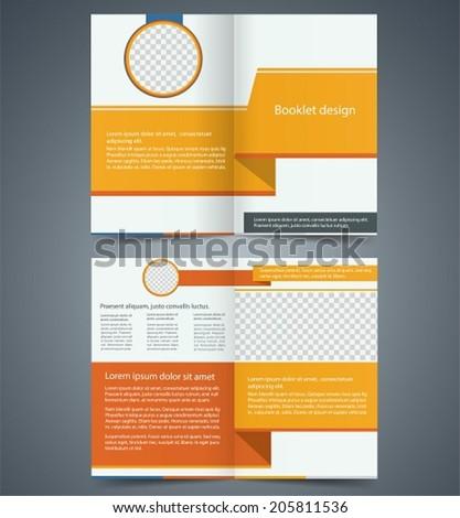 Yellow bi-fold brochure template design, business leaflet, booklet. - stock vector