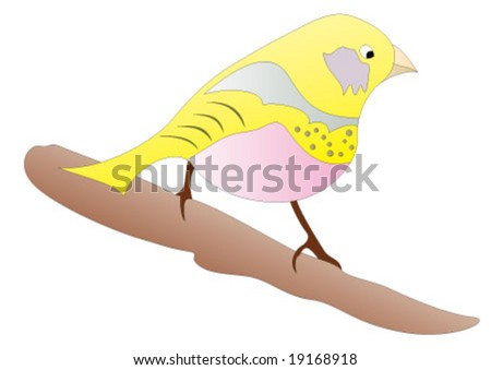 Yellow bird standing on the branch - stock vector