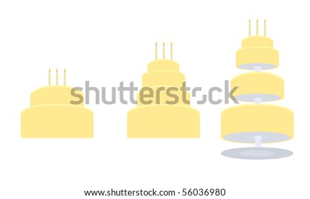 Yellow birthday cake in three variations - vector