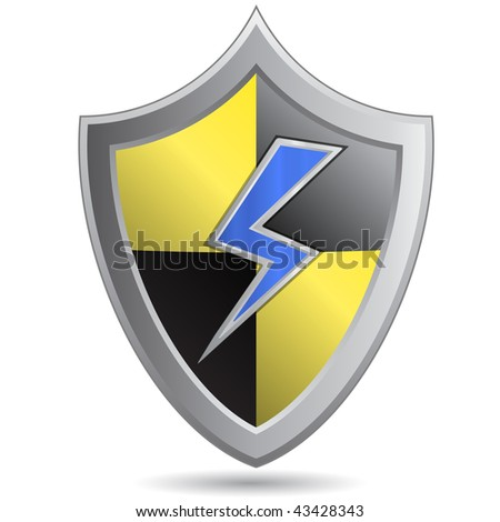 Yellow-black shield with lightning - stock vector