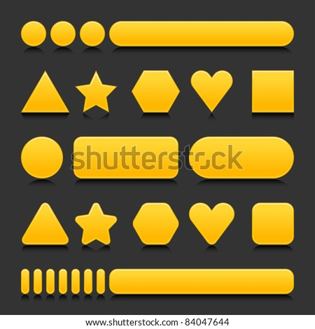 Yellow blank various forms web 2.0 buttons with black reflection on gray background - stock vector