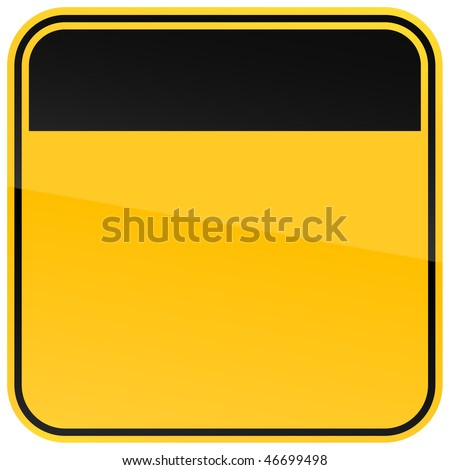 Yellow blank warning sign on a white background - stock vector