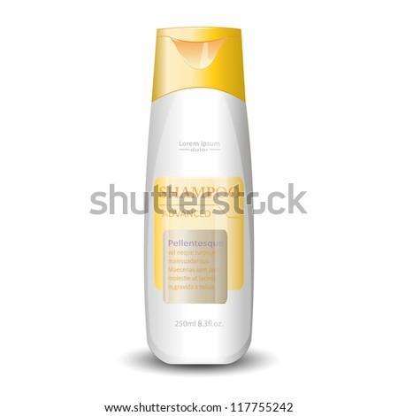 Yellow bottle of gel, liquid soap, lotion, cream, shampoo. Vector EPS10 - stock vector