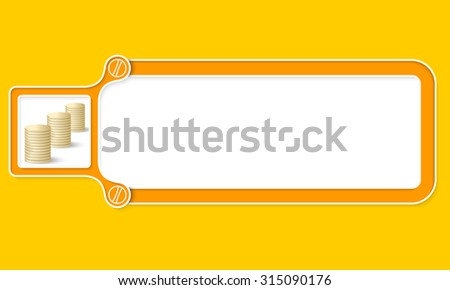 Yellow box with white frame for your text and coin - stock vector