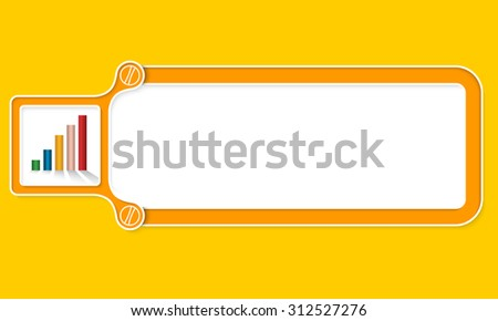 Yellow box with white frame for your text and graph - stock vector